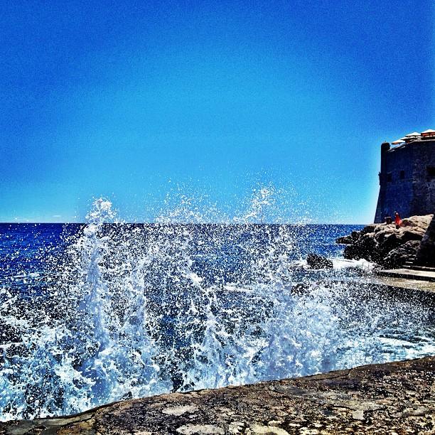 Sea spray along the seawall in Dubrovnik, Croatia