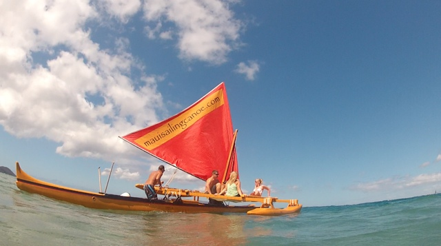A Hawaiian Sailing Canoe in Wailea, Maui