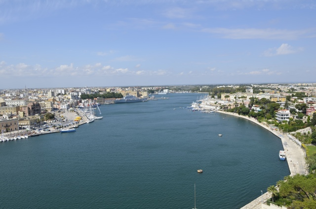 An aerial view of the city of Brindisi, Italy from the sailors memorial