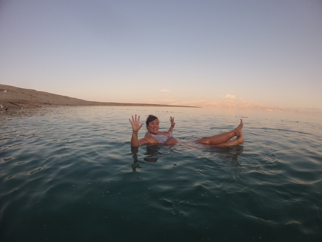 Floating in the Dead Sea on the Israel side