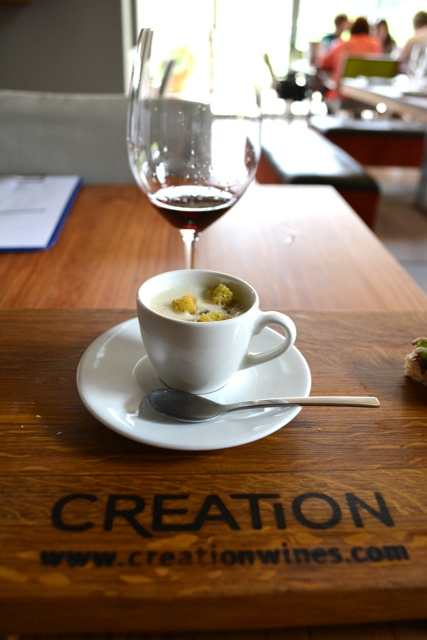 Cauliflower and gorgonzola soup with sour dough herbed croûtes and a merlot - tasting creation wines in South Africa
