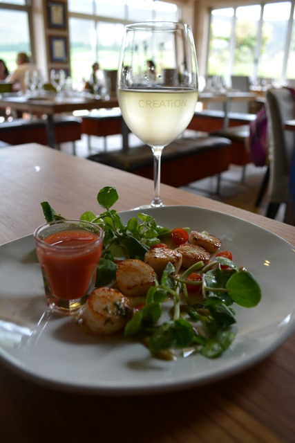 gazpacho, scallops and sauvignon blanc - tasting creation wines in south africa
