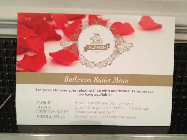 Alphen Boutique Hotel bath tub menu - The Alphen Boutique Hotel in South Africa