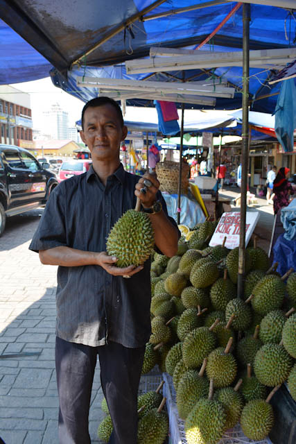 Durian Vendor - Eating Durian for the first time