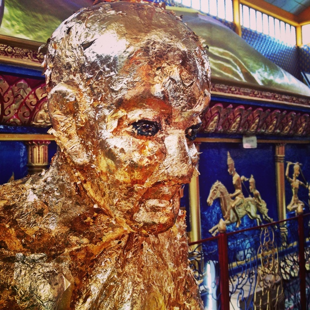 a gold leafh buddah at Wat Chayamangkalaram in penang malaysia - Malaysia As Seen Through Instagram Photos