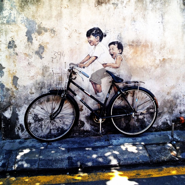 childrean on a bicycle street art by Ernest Zacharevic in penang malaysia - Malaysia As Seen Through Instagram Photos