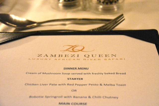 the zambezi queen dinner menu - staying aboard the zambezi queen houseboat