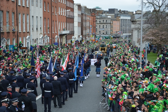 crowds at the st patrick's day parade in dublin 2014 - Tips for Celebrating St. Patrick's Day in Dublin, Ireland