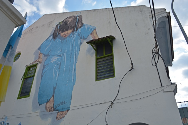 kungfu girl muntri street little girl in blue - The Street Art of George Town, Penang, Malaysia