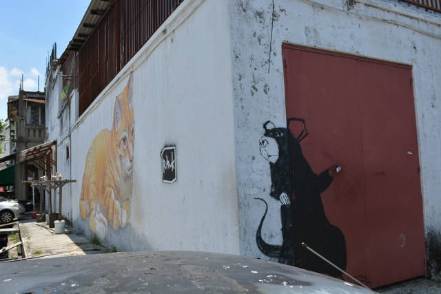large orange cat - skippy comes to penang and the giant rat - The Street Art of George Town, Penang, Malaysia