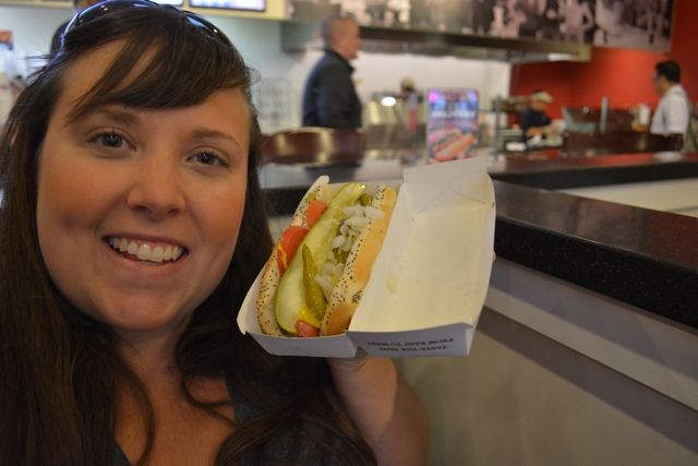 cailin and a chicago dog hotdog - chicago in a minute