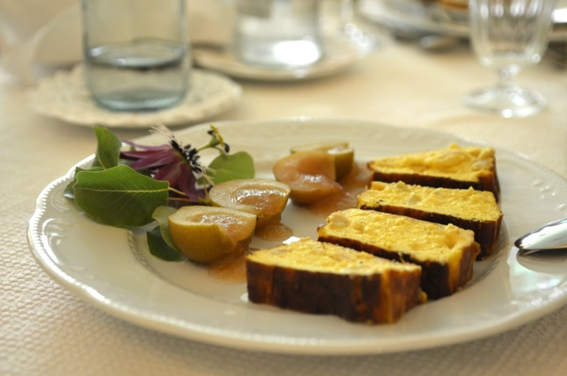 soft goats cheese with saffron pears and pears compote - Staying at an Italian farmhouse, Masseria Il Frantoio