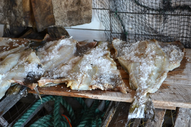 salt cod on a fishing stage - Interesting Food in Newfoundland
