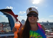 Cailin Carnival Cruise tie dye captains hat - Booking a Cruise with my Air Miles