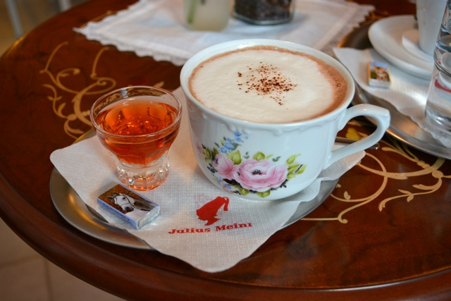 Hot chocolate with a shot of booze at a small cafe in Melk, Austria - A Viking River Cruise on the Danube Through Europe