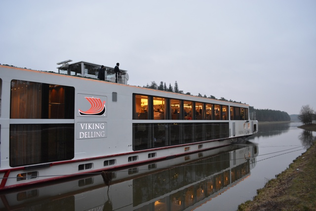 The Viking Delling longship docked outside of Nuremberg, Germany - A Viking River Cruise on the Danube Through Europe