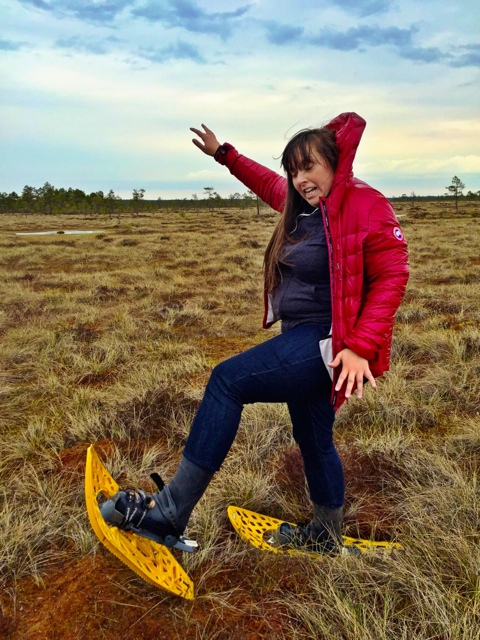 Cailin almost falling into the bog - A Bog Walking Adventure in Estonia