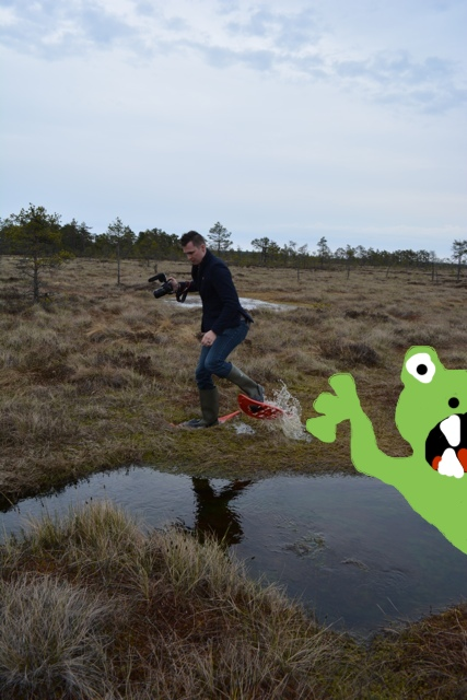 Chris from Captain and Clark bogshoeing escapes bog monster - A Bog Walking Adventure in Estonia