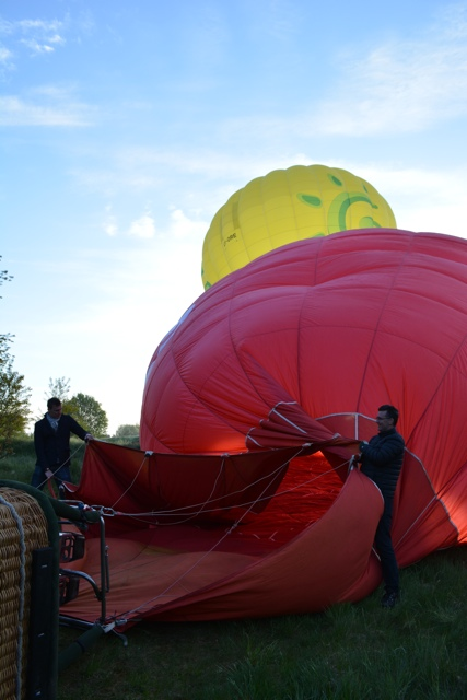 Getting the hot air balloon ready for take off - Hot Air Ballooning For the First Time