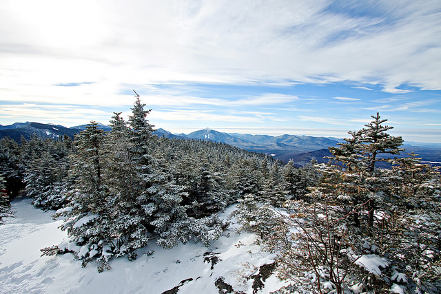 Adirondack Mountains in winter Cascade mountain by flicker user Mitchell Joyce - Adirondack Facts - Things to know before you go