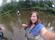 Cailin fly fishing in the Audable River, Lake Placid, Adirondacks - Learning to Fly Fish in the Adirondacks