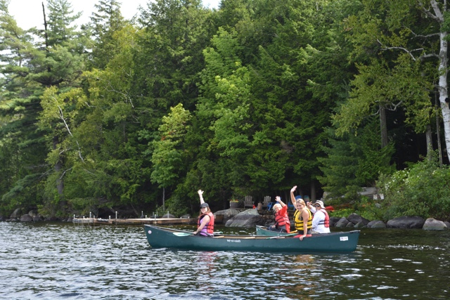 canoeing in Amerpsand Bay in the Saranac Lake region - Exploring the Adirondacks in New York State