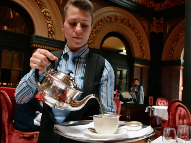Tea being poured at afternoon tea - Afternoon Tea at Belfast's Merchant Hotel