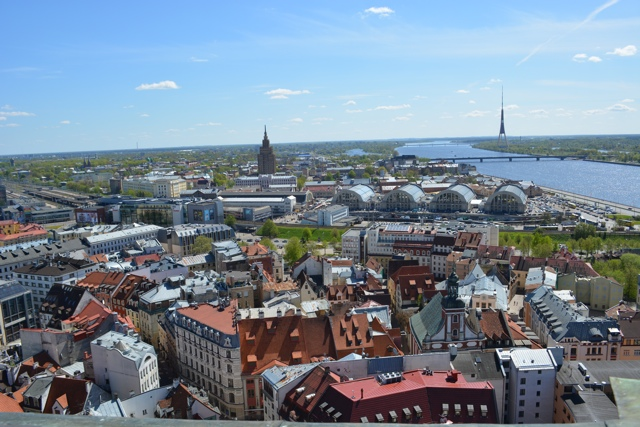 a view of Riga from the top of St Peter's Church - Best Tips for Visiting Riga, Latvia #video