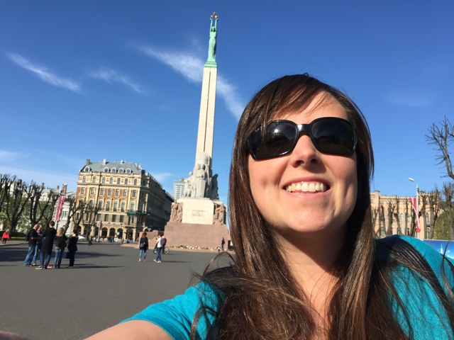 selfie in front of the Freedom Monument in Riga, Latvia - Best Tips for Visiting Riga, Latvia #video