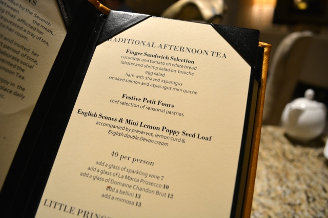 afternoon tea menu at the Palm Court in the Drake Hotel Chicago - Afternoon Tea at The Drake Hotel in Chicago