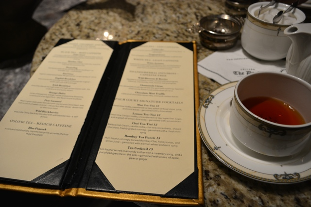 tea menu and tea-tini coctail list at the Palm Court in Chicago's Drake Hotel - Afternoon Tea at The Drake Hotel in Chicago