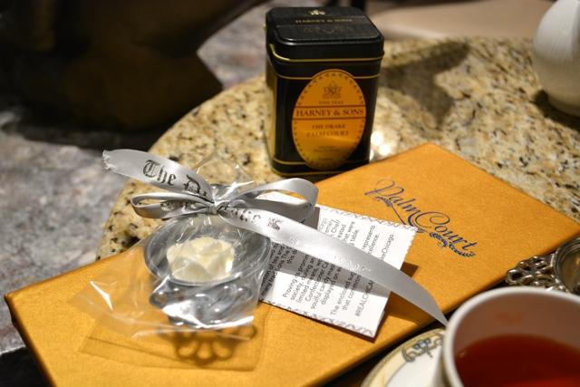 tea strainer and Palm Court Harney and Sons special blend tea gifts for purchase - Afternoon Tea at The Drake Hotel in Chicago