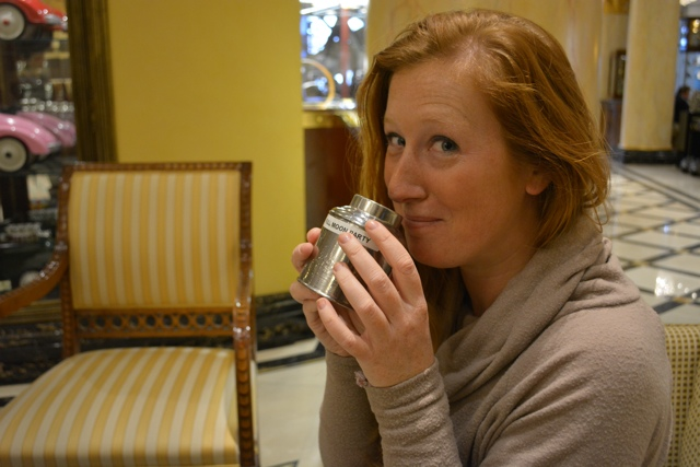 Candice sniffs and attempts to chose a tea - Afternoon Tea at The Ritz-Carlton, Berlin