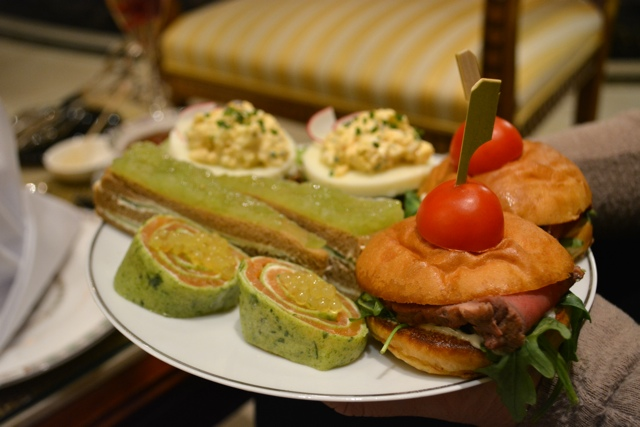 afternoon tea roast beef, cucumber, egg and salmon sandwiches - Afternoon Tea at The Ritz-Carlton, Berlin