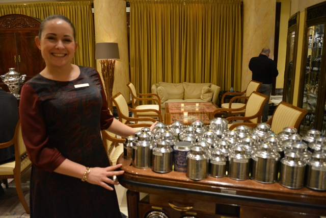 tea sommelier in Berlin with a huge cart of 60 mariage freres tea - Afternoon Tea at The Ritz-Carlton, Berlin