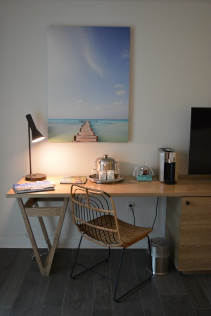 work desk, art work, coffee maker - Amara Cay Resort Review in the Florida Keys