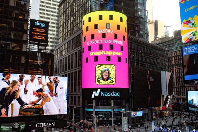 Cailin O'Neil Snapchat code on Nasdaq tower in times square