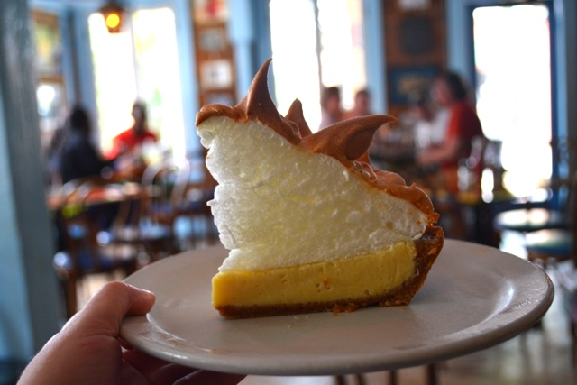 key lime pie with a bunch of meringue from Blue Heaven Cafe - The Best Things to do in the Florida Keys
