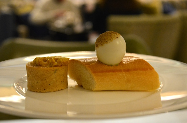 baguette with quail egg and celery salt with coronation chicken curry tartlet - Afternoon Tea at the Balmoral Hotel in Edinburgh, Scotland