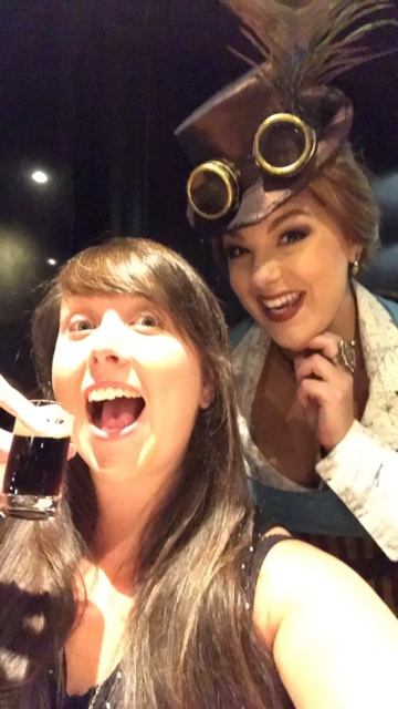 Cailin and Penelope sampling a too chocolate stout - A Review of The Toothsome Chocolate Emporium at Universal Orlando