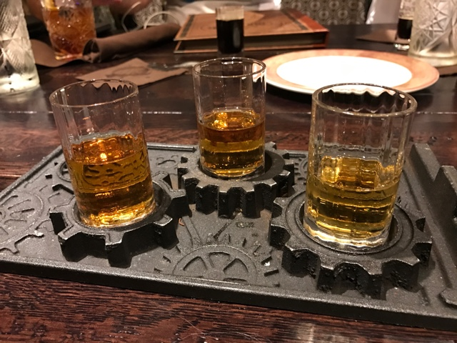 a sample flight of bourbons - A Review of The Toothsome Chocolate Emporium at Universal Orlando