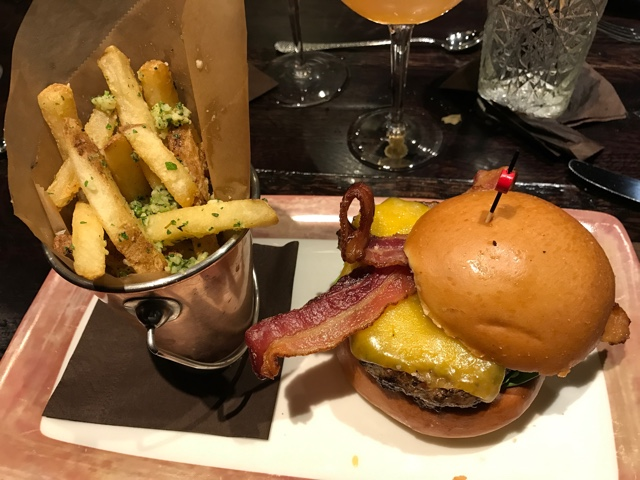 cheddar bacon burger and garlic fries - A Review of The Toothsome Chocolate Emporium at Universal Orlando
