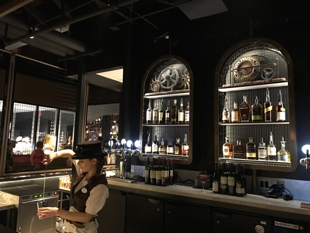 one of the steampunk themed bars at the toothsome chocolate emporium and savoury feast kitchen - A Review of The Toothsome Chocolate Emporium at Universal Orlando