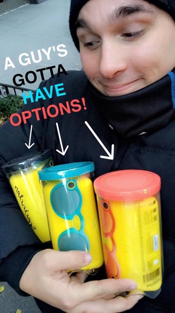snapchat spectacles in teal, coral and black with snapchatter Chris Monachino