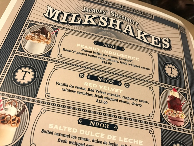 the artisan milkshake menu at the toothsome chocolate emporium and savoury feast kitchen - A Review of The Toothsome Chocolate Emporium at Universal Orlando