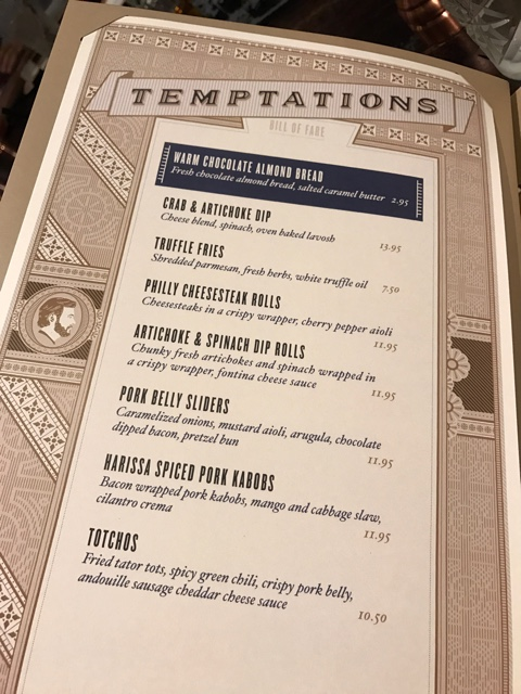 the temptations appetizer menu - A Review of The Toothsome Chocolate Emporium at Universal Orlando