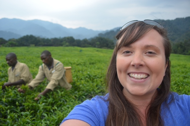 getting a demo on how they pick tea leaves - Nyungwe Forest Lodge, Rwanda Review