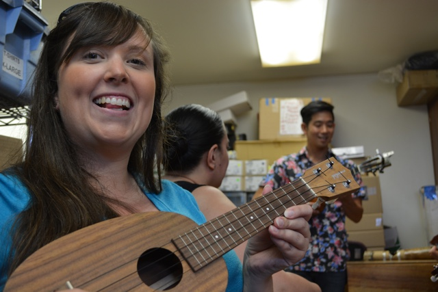 learning to play the ukulele with Jake Shimabukuro at Kamaka Hawaii - Touring Oahu, Hawaii in a Minute