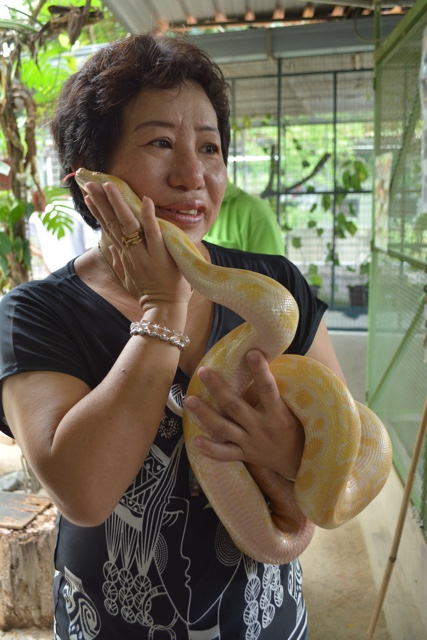 Lilian the owner of the Snake Farm in Penang - The Snake Temple in Penang, Malaysia