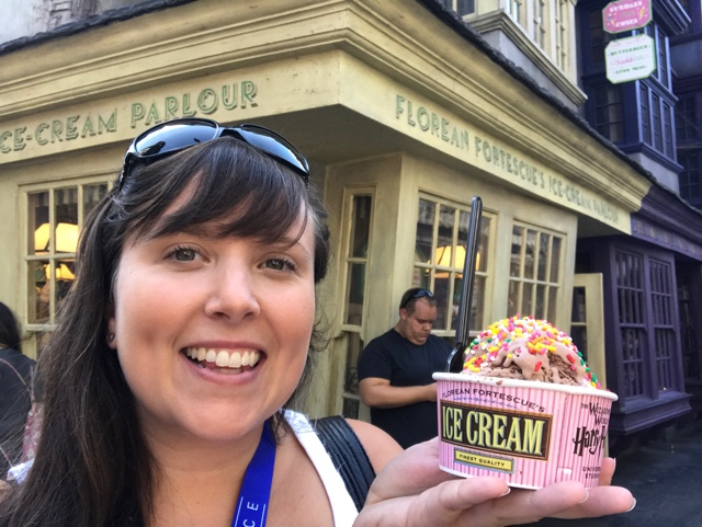 chocolate chili ice cream from Florean Fortescue's in diagon alley - Universal Orlando's Best Theme Park Foods